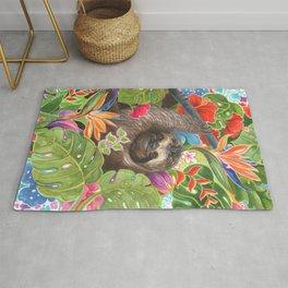 Sloth among exotic flowers Rug