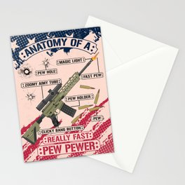 Anatomy Of A Pew Pewer - Funny American Patriotic Gun Saying Stationery Cards