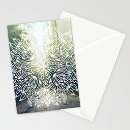 Mandala Forest Fog Road Stationery Cards