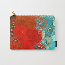 Turquoise and Red Swirls Carry-All Pouch