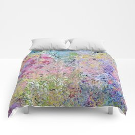 Spring Hydrangeas, Pastel Abstract, Modern Painting Comforters