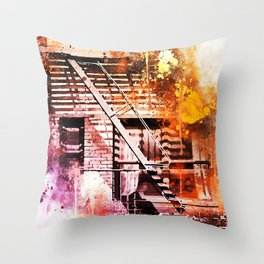 NYC Watercolor Collection - Fire Escape Throw Pillow