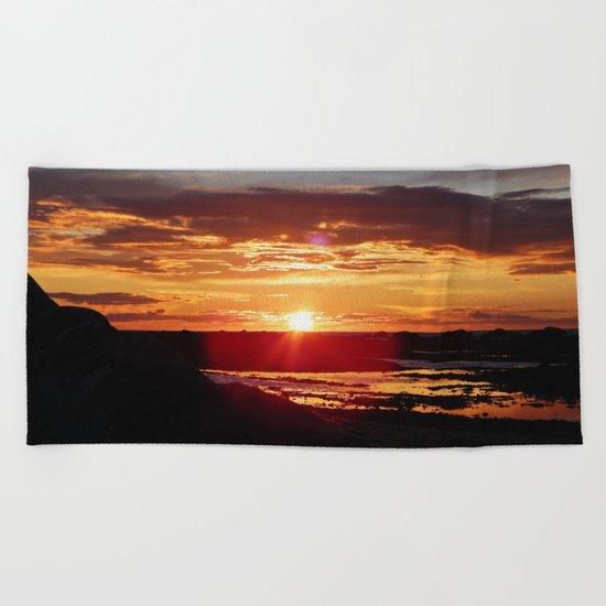 Ground Level Sunset Beach Towel