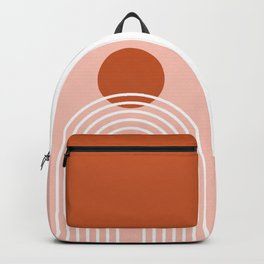 Mid Century Modern Geometric 38 in Terracotta Rose Gold (Rainbow Sun Abstraction) Backpack