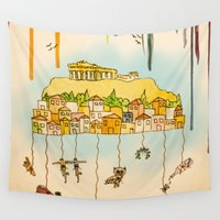 cities Wall Tapestries featuring Rainbow Cities ~ Athens by Evisa Isabella Rose