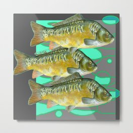 SCHOOL OF GREENISH-YELLOW FISH  IN GREY ART Metal Print