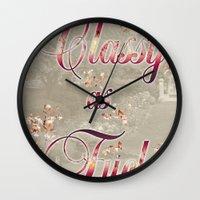 classy Wall Clocks featuring Classy by Elle Sturgeon