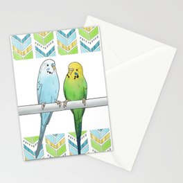 Row of Budgies Stationery Cards