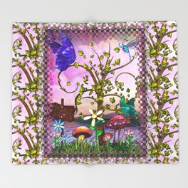 Whimsey Gardens Fantasy Art Throw Blanket