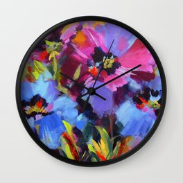Wild Blue Poppy Garden Wall Clock