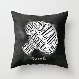Broccoli cutting scheme chalk Throw Pillow