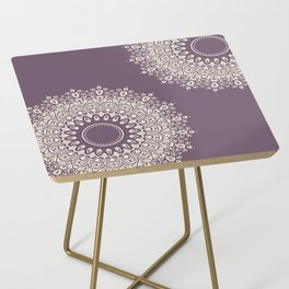 Asymmetric Mandalas on Mulberry Background Side Table
