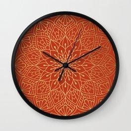 Gold Mandala Pattern On Red Wall Clock