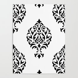 Orna Damask Pattern Black on White Poster