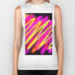 psychedelic geometric polygon abstract in pink yellow orange black Biker Tank