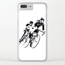 Bicycle racers into the curve... Clear iPhone Case