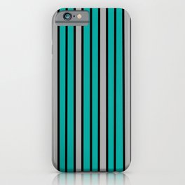 Turquoise, Black & Light Gray Stripes iPhone Case