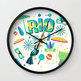 Colorful Rio Carnaval beach party Wall Clock
