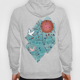 Art Nouveau Moon and Doves (Bronze and Blue) Hoody