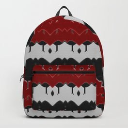 Geometric Arabian Style Red -White- Black Pattern with abstact stripes Backpack