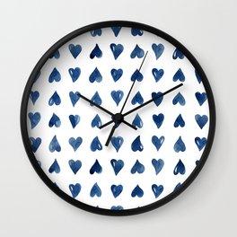 Hearts Watercolor Pattern Wall Clock