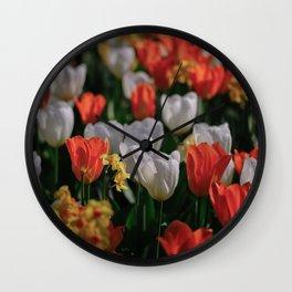 Colorful White and Orange Tulip Carpet Wall Clock