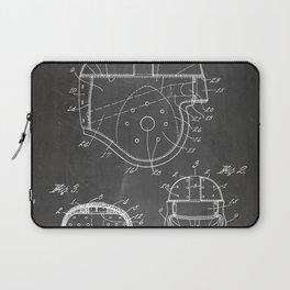 Football Helmet Patent - Football Art - Black Chalkboard Laptop Sleeve