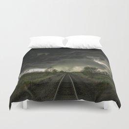 Give Me Shelter - Storm Over Railroad Tracks in Kansas Duvet Cover