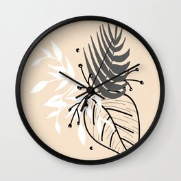 Cream leaves Wall Clock