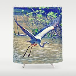 Flying (Blue Heron) Shower Curtain