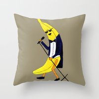 banana Throw Pillows featuring Banana by Anna Shell
