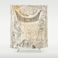 alice in wonderland Shower Curtains featuring Wonderland  by Jgarciat