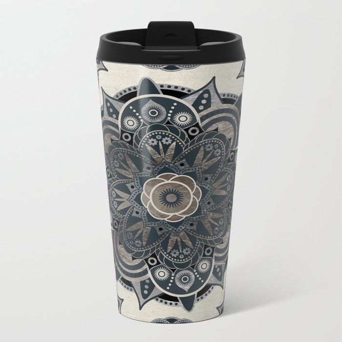 Silver Mandala Metal Travel Mug