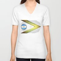 argentina V-neck T-shirts featuring Argentina by ilustrarte