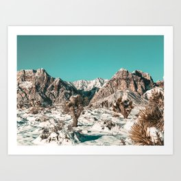 Vintage Cactus Snow & Mountains // Desert Landscape Photograph in the Mojave at Winter Red Rocks Art Print