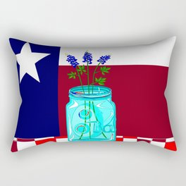 Texas Flag and Blue Bonnets Rectangular Pillow