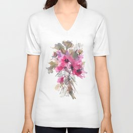Red Water Blooms Unisex V-Neck