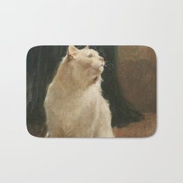 White Cat and Two Brimstone Butterflies by Arthur Heyer Bath Mat