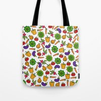 vegetables Tote Bags featuring Vegetables by Alisa Galitsyna