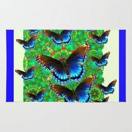 BLUE-BROWN BUTTERFLY GREEN ART Rug