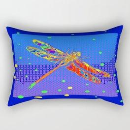Orange Dragonfly Sun Spots Blue Abstract Art Rectangular Pillow