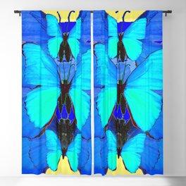 DECORATIVE BLUE SATIN BUTTERFLIES YELLOW PATTERN ART Blackout Curtain