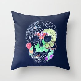 Chalk Art Skull Throw Pillow
