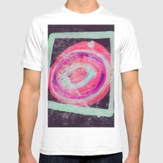Abstract Green Pink MEDIUM White Mens Fitted Tee