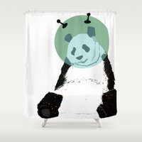 technology Shower Curtains featuring They're Using Technology, Panda by Tara Coyle