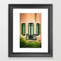 3 green windows Framed Art Print