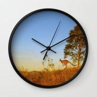 kangaroo Wall Clocks featuring Kangaroo  by Pippa Selby