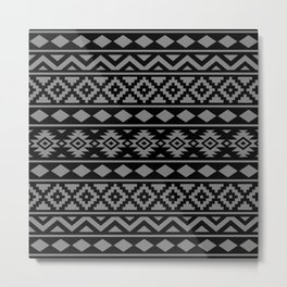 Aztec Essence Ptn III Grey on Black Metal Print