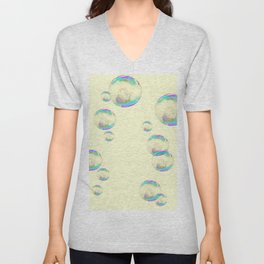 IRIDESCENT SOAP BUBBLES  ON YELLOW COLOR Unisex V-Neck