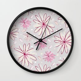 Pink and Grey Whimsical Flower Garden Drawings Wall Clock